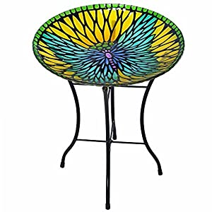 Peaktop 3208930 Bird Baths, Yellow/Blue Butterfly 114