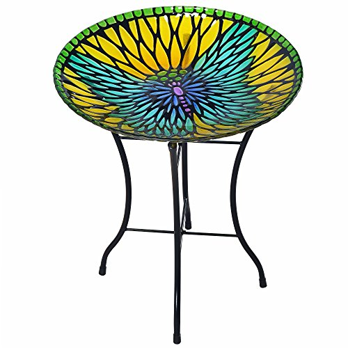 - Peaktop 3208930 Bird Baths, Yellow/Blue Butterfly