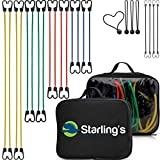 Starling's Bungee Cords with Hooks – Heavy Duty Bungie Straps Assortment Set of 24 100% Latex – Elastic Stretch Cord, Pull Ropes for Motorcycle Truck Car Trailer Camper Bike W/Bungees Ball-Canopy Tie