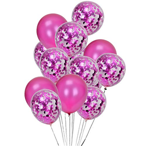 Confetti Balloons 20 PCS Set-10PCS Rose red Sequins Confetti Balloon and 10PCS Rose red Latex Balloon for Party, Wedding, Birthday Decoration -