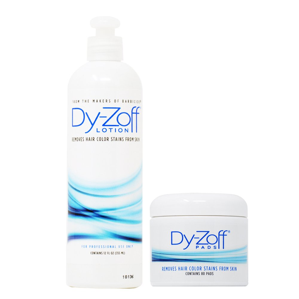 King Research Dy-Zoff Lotion 12oz + Pads Removes Hair Color Stains 80 pads by King Research