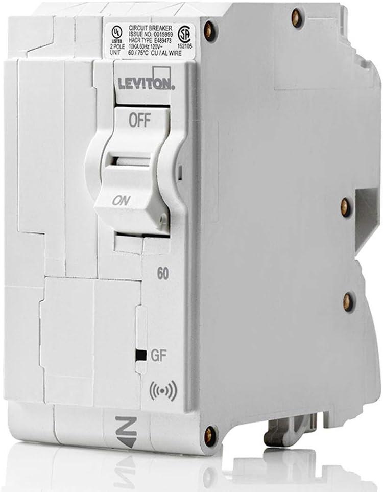 Leviton LB260-GS 60 Amp,2-Pole Plug-on Smart GFCI Branch Circuit Breaker, 120 VAC, White