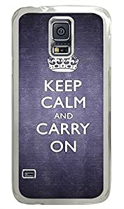 Keep Calm And Carry On PC Transparent Hard Case Cover Skin For Samsung Galaxy S5 I9600