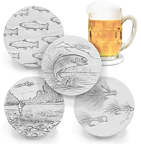 4pc Light Beige 4.25 inch Absorbent Fly Fishing Drink Coasters by McCarter Coasters
