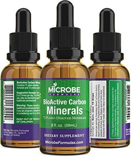 Microbe Formulas BioActive Carbon Minerals – 2 Fl. Oz. -Plant Derived Minerals – Amino Acids – Made to Support A Full-Body Detox – Increase Energy – Convenient Drop Form