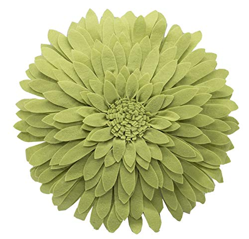 Elegant 3D Sunflower Throw Pillow - Round 13 x 13 Decorative Throw Pillow - Lime Green Accent Pillows for Couch, Bedroom And Living Room Decor - Sunflower Decorative Pillows With Case And Insert