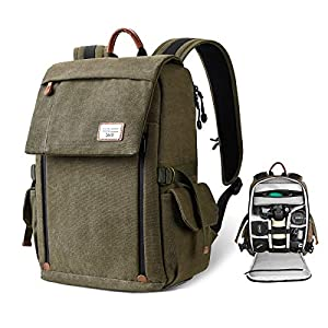 Best Epic Trends 51HAGLqSU0L._SS300_ Camera Backpack Bag for DSLR/SLR Mirrorless Camera, Zecti Large Canvas Camera Bag with Anti-Theft Design Tripod Holder…