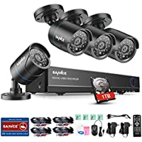 SANNCE 1080N HDMI DVR Surveillance Video Recorder Security System Wired (4) Weatherproof HD 1500TVL Outdoor/Outdoor Cameras Surveillance Security System with 1TB Hard Drive, Email Alarm