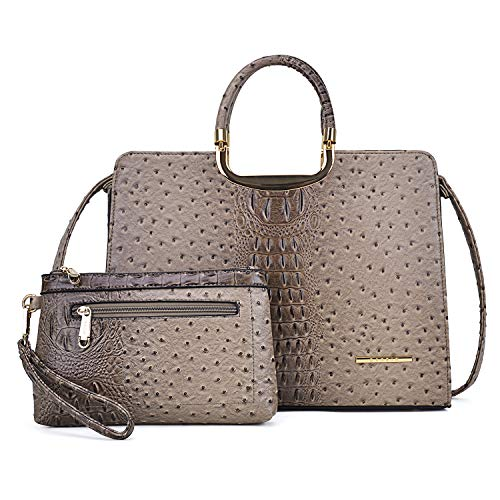 MMK collection Fashion Ostrich Embossed Leather Handbags Signature Designer Purse for Women(XL-T-2828-KI)