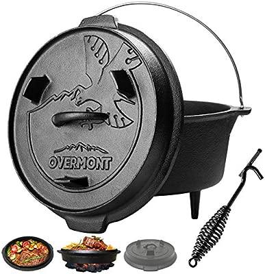 Overmont 5,7L / 8,8L Dutch Oven Olla Horno Holandés de Hierro Fundido Cazuela Camping Outdoor Cocina Utensilios con Elevador y Soporte para la Tapa y ...