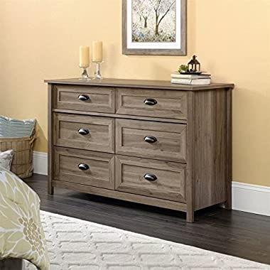 Sauder County Line 6 Drawer Dresser in Salt Oak