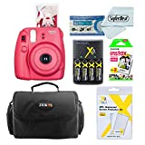 Fujifilm Instax Mini 8 Instant Film Camera (Raspberry) With Fujifilm Instax Mini Instant Film Twin Pack (20 Sheets) + Compact Bag Case + Batteries & Battery Charger