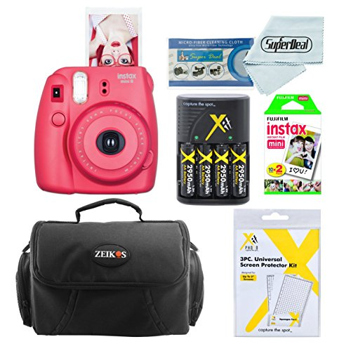 Fujifilm Instax Mini 8 Instant Film Camera (Raspberry) With Fujifilm Instax Mini Instant Film Twin Pack (20 Sheets) + Compact Bag Case + Batteries & Battery Charger by Fujifilm