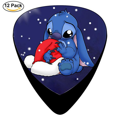 12 Pack Guitar Picks Celluloid OO66 Blue Christmas Lilo And Stitch