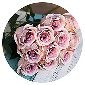 shine-hearty Pink Artificial Rose Flower Bridal Bouquet Peony Flower Wedding Decoration Silk White Rose Bouquet Home Decor Fake Flower,Purple Pink 105
