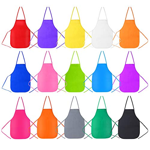 Caydo 15 Pieces Middle Size Fabric Aprons 15 Colors for 5-10 Years Old Kids, Applied in Kitchen, Classroom, Community Event, Crafts and Art Painting Activity