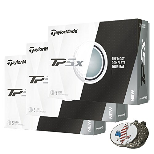 3 Dozen of TaylorMade TP5X White Golf Balls 2017 TP5 X + 1 Custom Ball Marker Hat Clip Set (American Eagle) by TaylorMade
