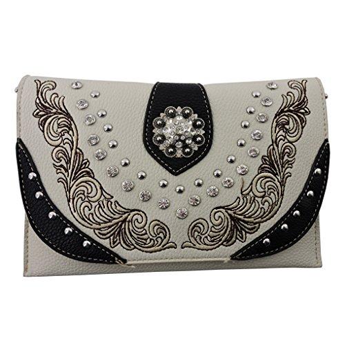 Wallet Handbag in Built Crossbody Shoulder Clutch Black Beige Bling American xw0Hfq7vH