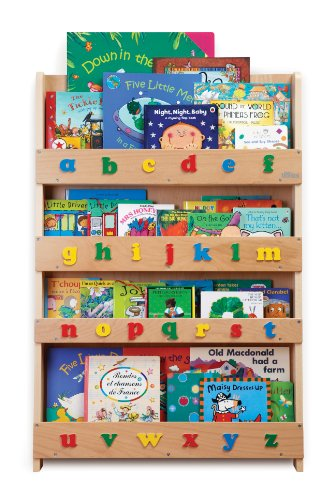 Tidy Books - The Original Kid's Bookshelf. Front Facing Book Display and Book Storage. Ideal Kid's Library. Wooden in Natural Finish with Playful Alphabet 30.3 x 2.8 x 45.3 inches by Tidy Books
