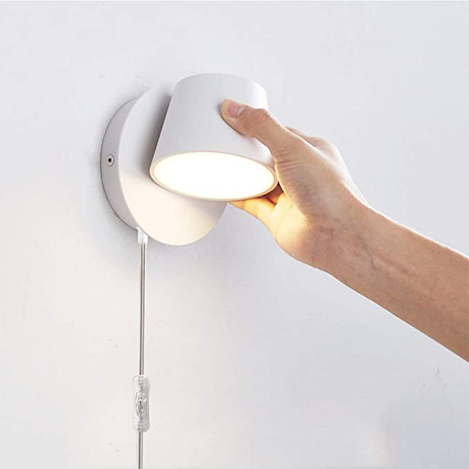 Amazon Com Luzden Lámpara De Pared Led Moderna Para Lectura Cable Con Interruptor De Encendido Y Apagado Rotación Ajustable Color Blanco Arena Para Dormitorio 7 W 3000 K Home Improvement
