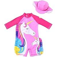 Baby Girl One Piece Swimsuit Sunsuit Long Sleeve Swimwear Rash Guard Toddler Kid Unicorn Bathing Suit Zip with Hat 1-6t
