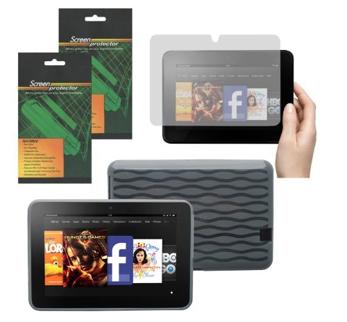 Smoke Tpu Skin - iShoppingdeals - Smoke TPU Rubber Skin Cover Case and Matte Screen Protector for Amazon Kindle Fire HD 7