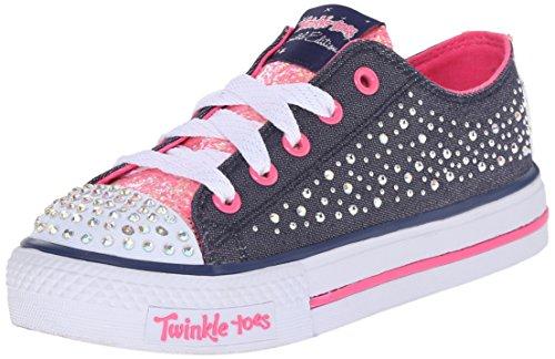Skechers Kids Shuffles - Sparkle Wishes Sneaker (Little Kid), Denim/Hot Pink, 11 M US Little Kid