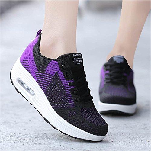 Sneaker Turnschuhe violett Frauen 42 Y Größe Outdoor Plateau Damen Sportschuhe Wedges Atmungsaktiv Mesh Leicht 35 rxIrAq