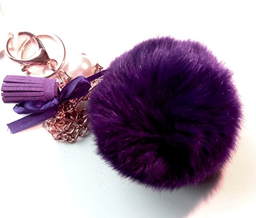 Elegant Fluffy Real Rabbit Fur PomPom Ball Keychain Handbag Tote Bag Key Ring With Eiffel Tower Pendant Charm For Women And Girls Perfect Gift For All Occasions (Dark purple)