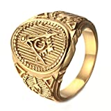 Budazo Vintage Mens Retrol Titanium Steel AG Masonic Rings,Gold,Size 12