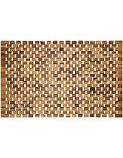 WohnDirect Antypoślizgowa drewniana mata łazienkowa naturalna • trwała, wytrzymała mata drewniana do łazienki, sauny i wellness – dywanik prysznicowy ze 100% drewna akacjowego – 50 x 80 cm