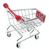 callm Toy Mini Supermarket Handcart Shopping Utility Cart Mode Storage Basket Desk (Red)