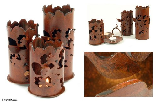 NOVICA Animal Themed Metal Candle Holder, Brown, Starlight Geckos' by NOVICA (Image #2)