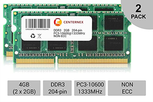 4GB KIT 2 x 2GB SODIMM DDR3 NON-ECC PC3-10600 1333MHz 133...