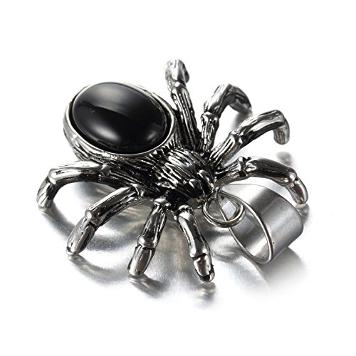 LAMUCH Vintage Jewelry Stainless Steel Silver Spider Insert Black Diamond Pendant Necklaces For ()