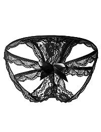 ETAOLINE Women Sexy Lingerie Bowknot Strappy Panties Lace Thongs Underwear