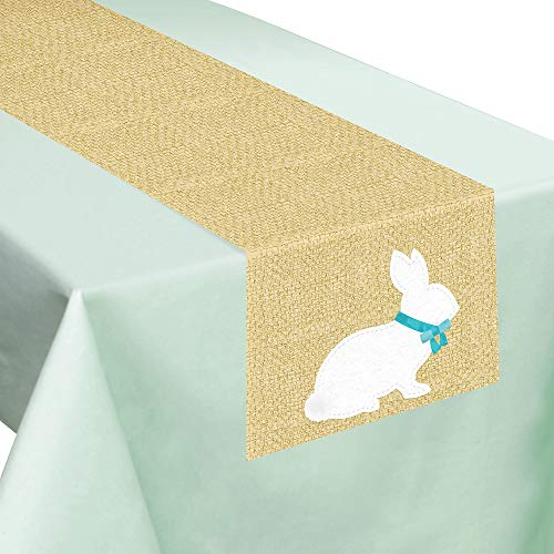 Amscan Rustic Easter Bunny Table Runner, Dining Room Decor, Fabric, Reusable, 13