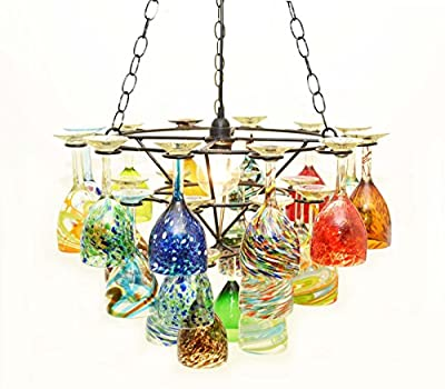 Wrought Iron Wine Glass Socket Set Chandelier-21.75 Inches Wide x 33 Inches Tall. Assorted Wine Glasses.