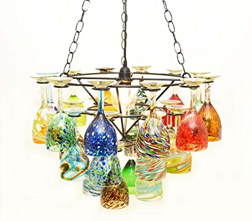 Recycled Glass Chandelier (Wrought Iron Wine Glass Socket Set Chandelier-21.75 Inches Wide x 33 Inches Tall. Assorted Wine Glasses.)