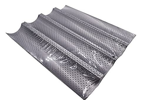 French Bread Pan, KOOTIPS Non-stick Perforated Baguette Pan French Italian Bread Pan Wave Loaf Bake Mold Board Subway Mold Tins Basket Tray Cloche Molds Pans Sheet Baker Baking Toast (Four - Non Stick French Bread Pan