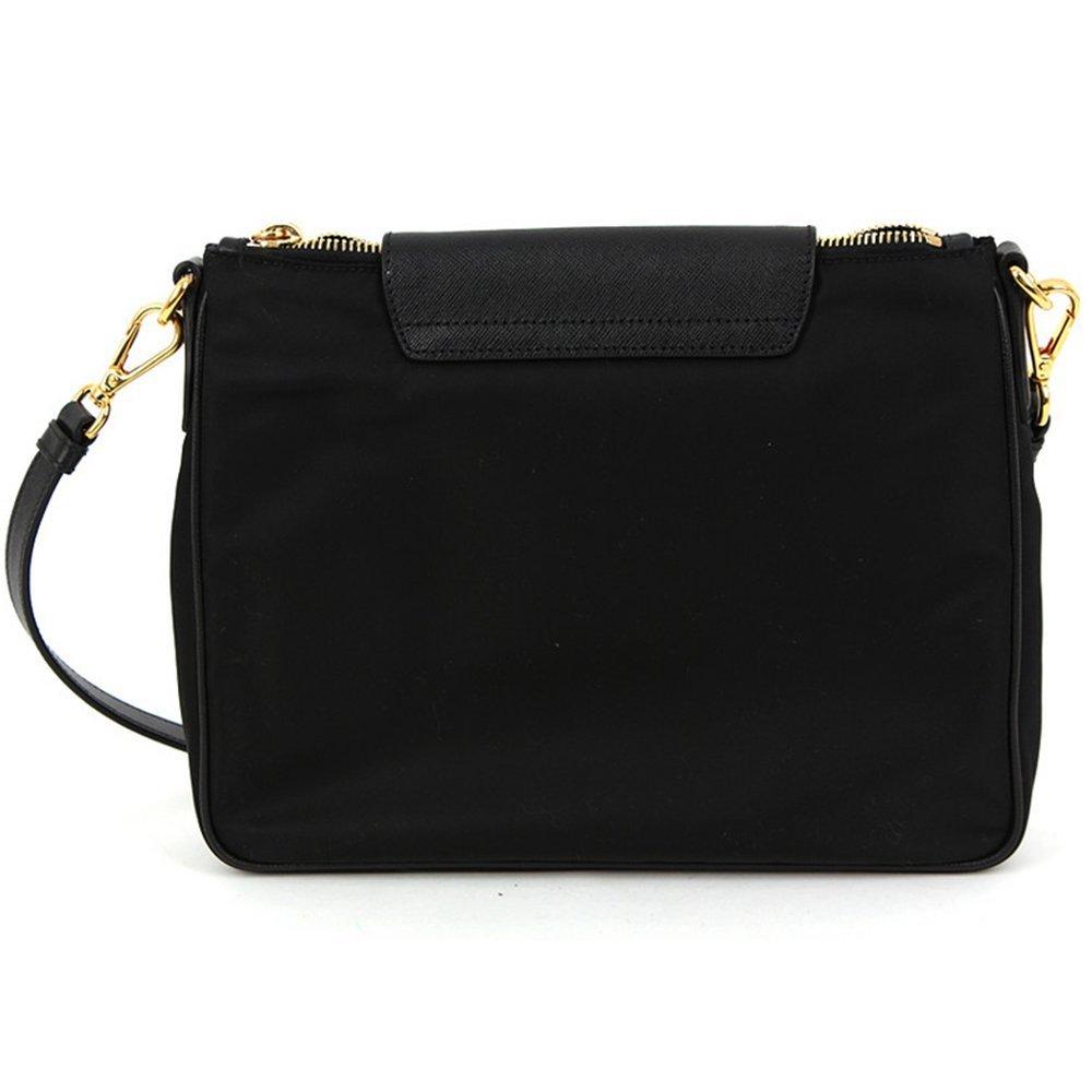 15c4794b94 Amazon.com: Prada BT0933 Nero Black Tessuto Saffian Nylon and Leather  Crossbody Messenger Bag: Shoes