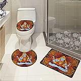 Carl Morris Yoga toilet floor mat set Retro Graphic Eastern Deity in Grunge Style Fire Mandala Pattern Cultural Holy Idol Custom made Rug Set Orange Blue