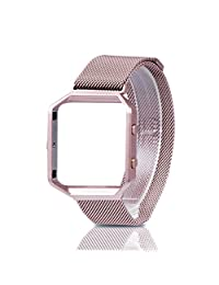 For Fitbit Blaze Band, Wearlizer Milanese Loop Watch Band Replacement Stainless Steel Bracelet Strap With Metal Frame for Fitbit Blaze - Pink Gold Small