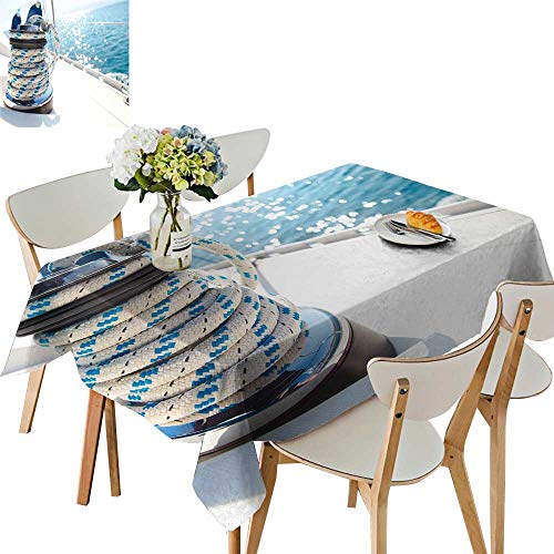UHOO2018 Square/Rectangle Polyesters Tablecloth Sailboat Winch Rope Yacht Detail Yacht Wedding Party,54 x124inch.