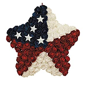 Gerson Patriotic Red, White and Blue Roses Hanging Star - 14 Inches Wide, Polyfoam Roses 89