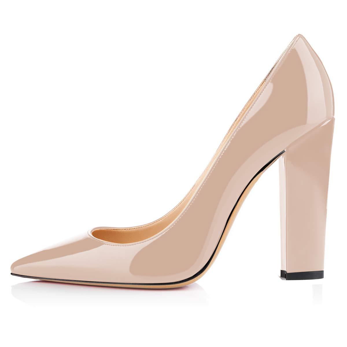 Eldof Womens Block Heel Pumps Pointed Toe Chunky Heel Pumps Classic Slip On 4 Heels Wedding Party Office Pumps for Women