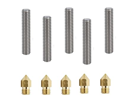 5pcs Aluminum Heater Block for MK8 M6 Makerbot Reprap 3D Printers 5pcs 0.4mm Brass Extruder Nozzle Print Heads Zomiee MK8 Extruder Kit 5pcs 30MM Length Extruder 1.75mm Tube