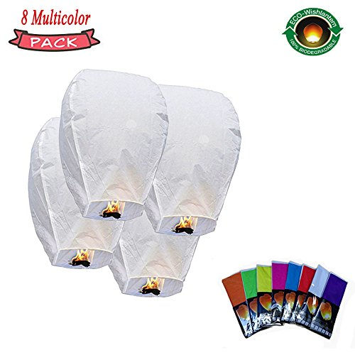 Chinese Lanterns 8 Pack Colorful Free Flying Sky Lanterns Weddings, Birthdays Commemorate Celebrate and Any Occasion,Portable Folded Flammable Fuel Kraft Wax Design by TONGRUI