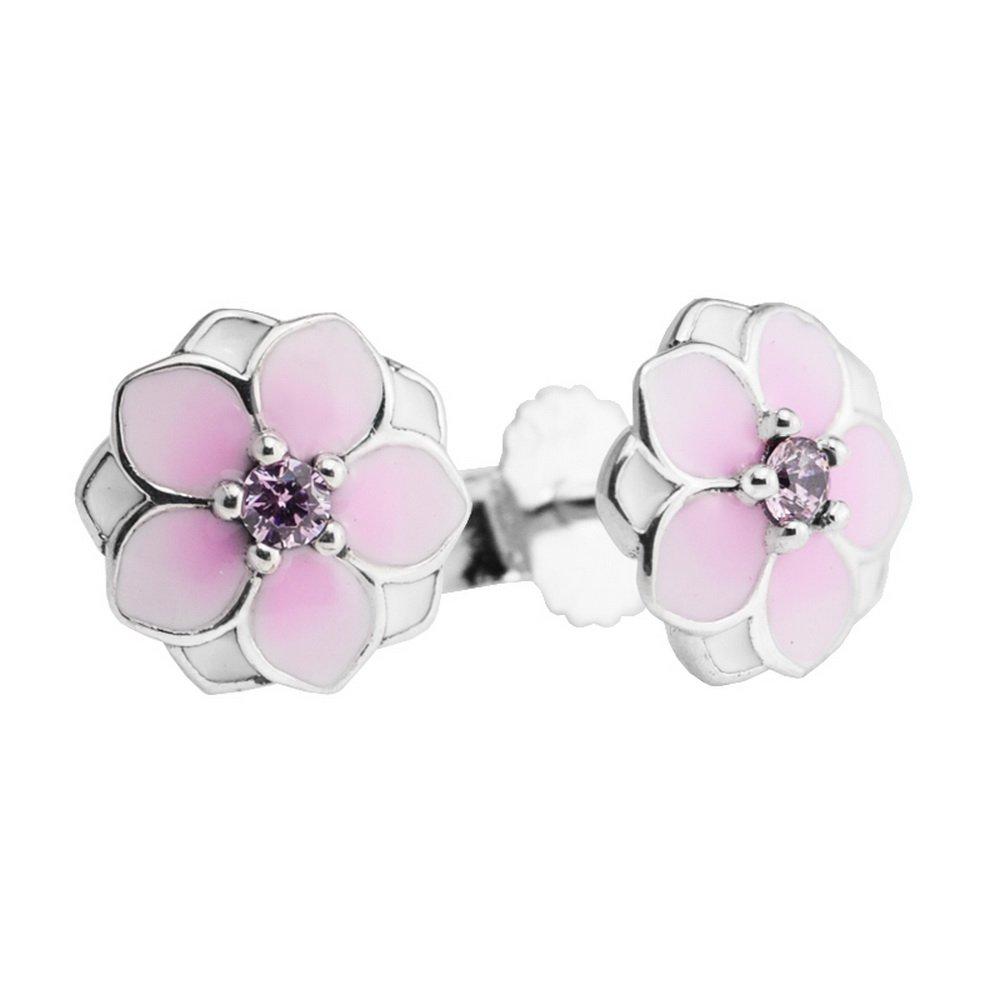 funshopp europ/äischen Spring pink Magnolia Bloom Ohrstecker 925/Silber Fashion Jewelry