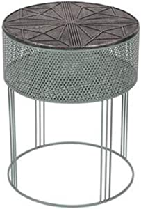 Side Table with Sturdy Metal Cage Base Natural Wood Top with Finish Accent Nightstand for Living Room